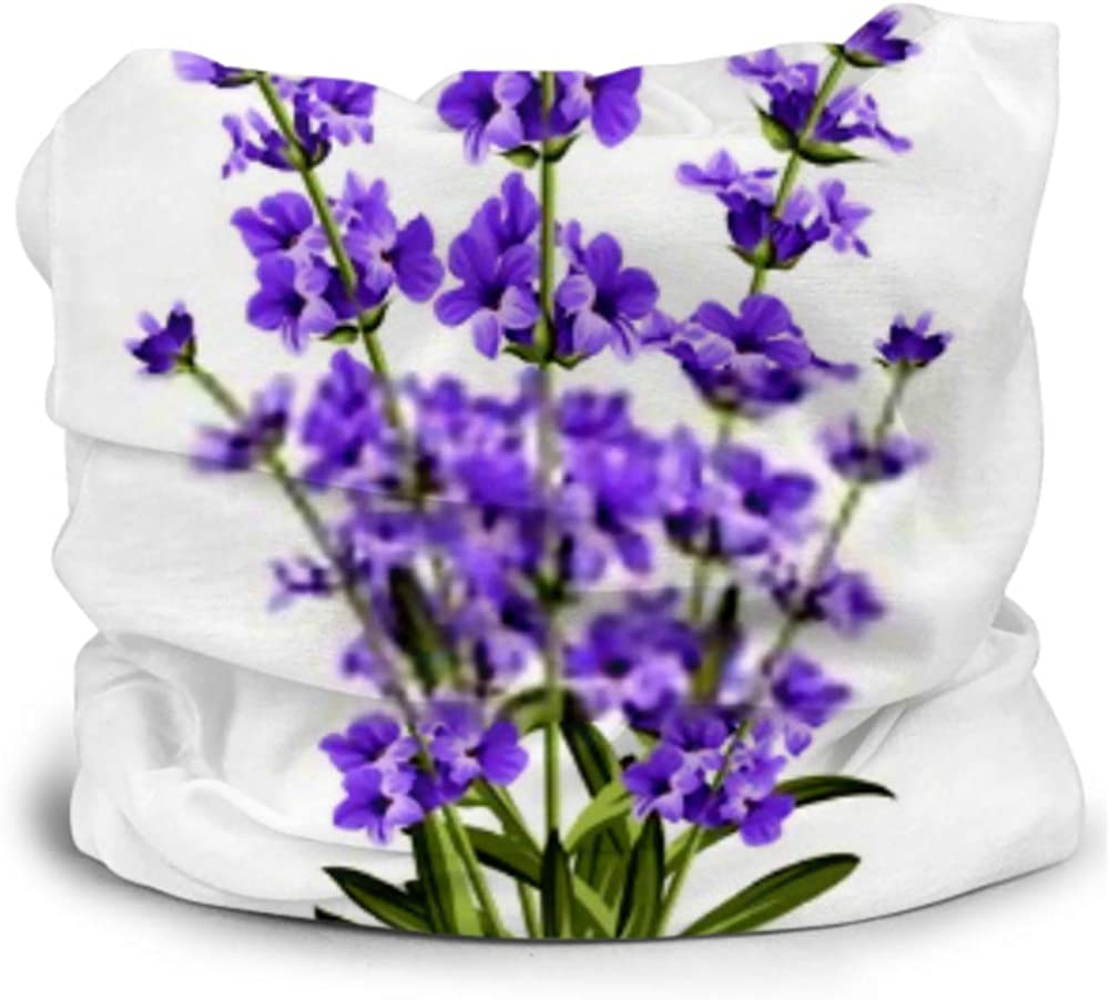 Headbands For Men Women Neck Gaiter, Face Mask, Headband, Scarf Bunch Lavender Flowers On White Background Turban Multi Scarf Double Sided Print Hair Wraps For Sport Outdoor