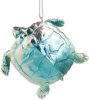 The Bridge Collection Metallic Blue Resin Sea Turtle Ornament