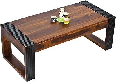 Daintree TimberTaste Nova Sheesham Wood Coffee Table Teak Color Top & Dark Walnut Legs