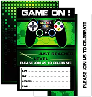 WERNNSAI Video Game Invitations - 20 Set Magical Fill In Game Party Invitations with Envelopes for Kids Boys Game Lovers Birthday Baby Shower Game Themed Party Supplies