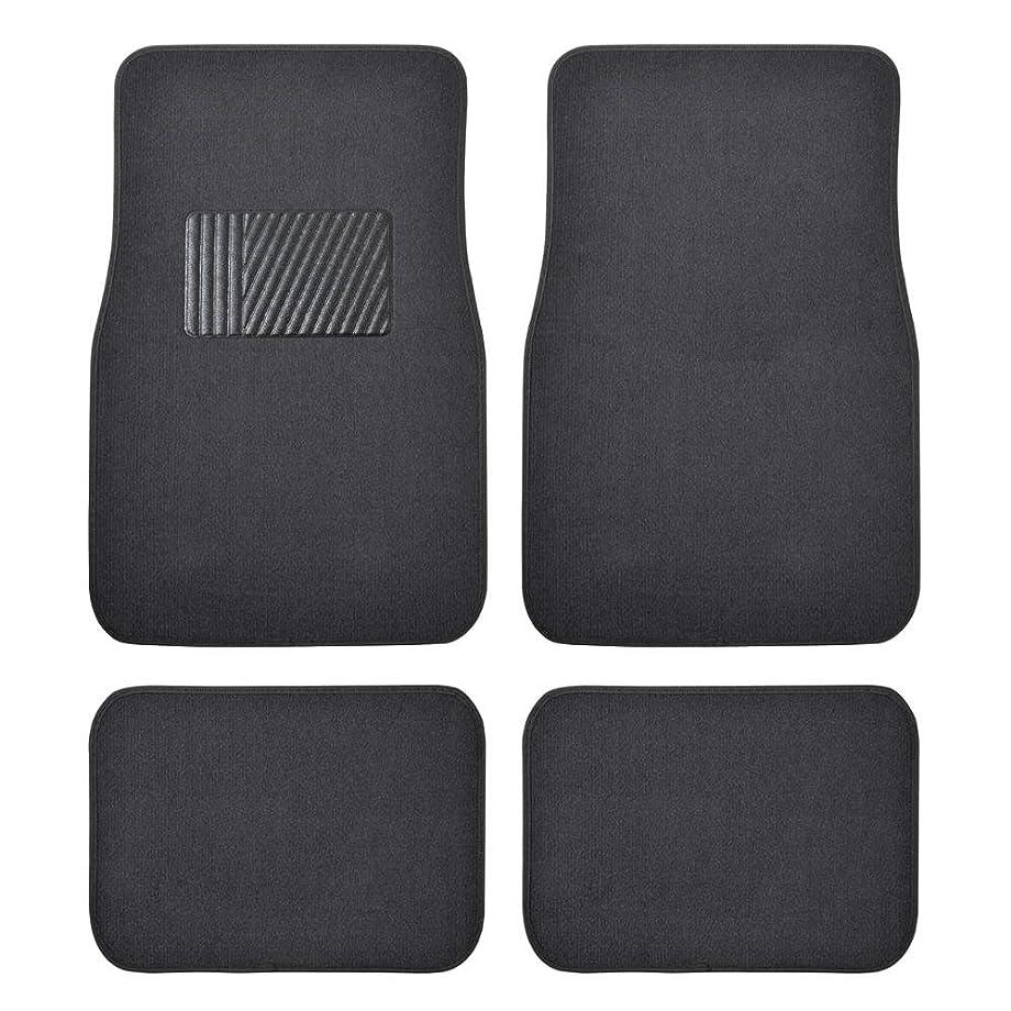 BDK Classic Carpet Floor Mats for Car & Auto - Universal Fit -Front & Rear with  Heelpad (Charcoal) - MT100CC