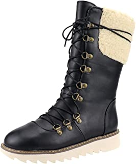2019 Boots for Women Flats Winter Lace-Up Middle-Tube Warm Boots Snow Boots Large Size Cotton Shoes