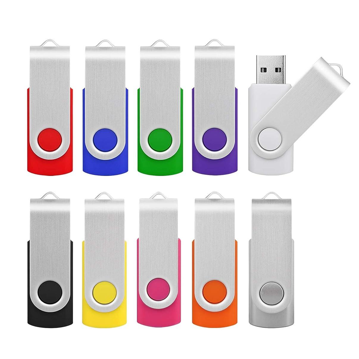 Kootion 16GB Flash Drive 16gb USB Flash Drive 10 Pack Thumb Drive Memory Stick Swivel Jump Drive Keychain Design, Mixcolored