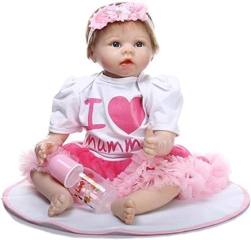 QXMEI Voll Vinyl Silikon   22 Zoll Lebensechte Reborn Babypuppen Realistische Handgemachte Babys Spielzeug mädchen Geburtstagsgeschenk 5cm