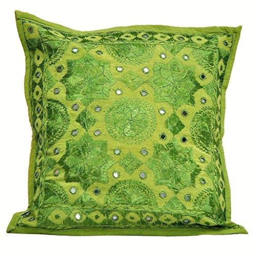"NANDNANDINI Hermoso Verde Manta Decorativa Almohada/cojín (Negro 16""x 16'algodón Mirrorwork Hecho a Mano en Jaipur India"