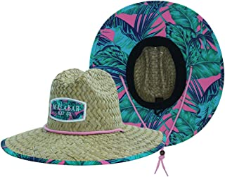 Woman's Sun Hat Straw Hat with Fabric Print Lifeguard Hat Great for Beach Ocean, Cruise, and Outdoor, Malabar Hat Co. (Pink Palm Leaves)
