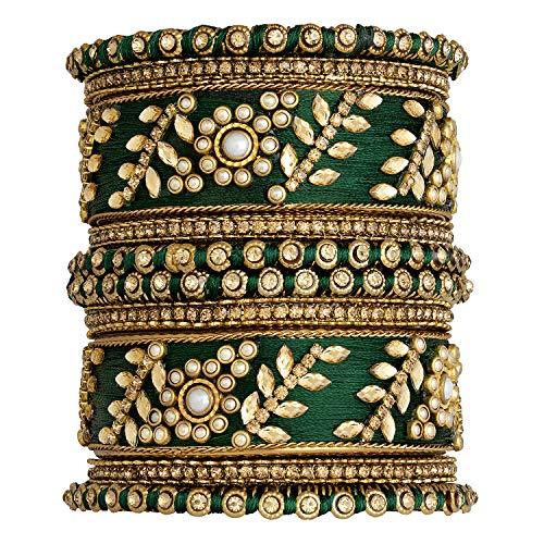 Aheli - Juego de pulseras de boda tradicional de hilo de seda sintética con tachuelas para novia, estilo indio, étnico bollywood, joyería de moda para mujer