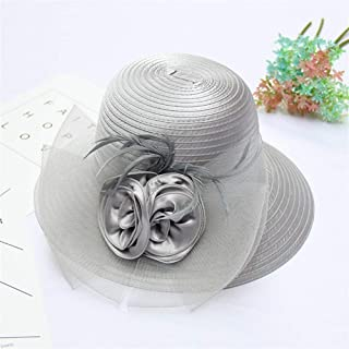 SHENTIANWEI 2019 Summer New European and American Fashion Flowers mesh hat Sunscreen UV Shade Cloth Cap Children pots hat (Color : Grey, Size : Adjustable)