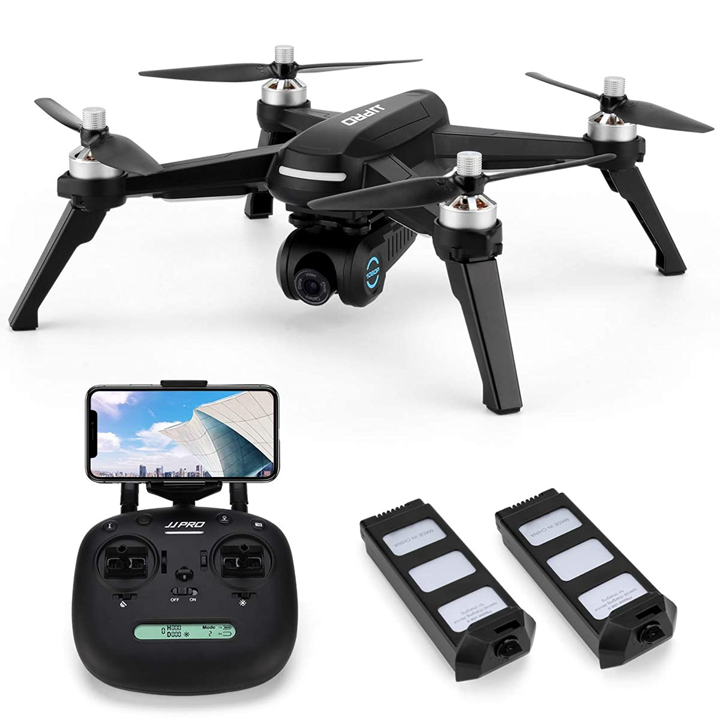 JJRC X5 FPV Drone with 1080P HD Camera Live Video and GPS Return Home Quadcopter with Brushless Motor & 90°Adjustable Camera-Follow Me, Flight Surround Me, Long Control Range, Altitude Hold (Black)