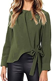 HOUJ Women's Solid Color Crewneck Long Sleeve Tie Up Tops Blouse Shirts