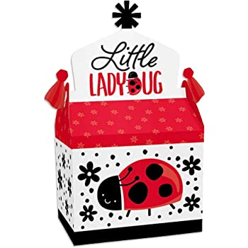 24 Ct Ladybug Baby Shower Birthday Favor Gift Boxes Candy Treat Box for Gender Reveal Women Kids Birthday Bridal Shower Party Decoration Supplies