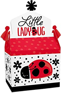 Big Dot of Happiness Happy Little Ladybug - Treat Box Party Favors - Baby Shower or Birthday Party Goodie Gable Boxes - Set of 12