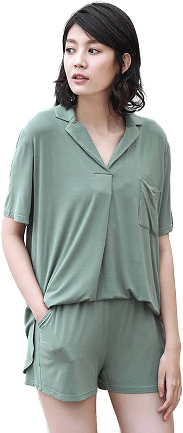 Summer ladies bamboo fiber comfortable pajamas thin home clothing suit ( color   Green , Size   S )