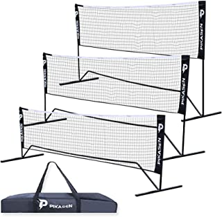 PIKASEN Portable Badminton Net Set - for Tennis, Soccer Tennis, Pickleball, Kids Volleyball - Easy Setup Nylon Sports Net with Poles