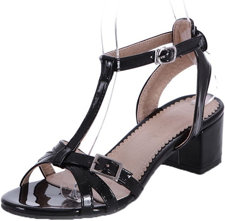 AmoonyFashion Women's Blend Materials Open-Toe Kitten-Heels Buckle Solid Sandals