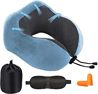 Povinmos Travel Neck Pillow Fully Filled Memory Foam for Better Support, Airplane Travel Sleeping Pillow with Sleep Mask, Earplugs - Soft Breathable and Washable Cover - Say Goodbye to Cervical Pain