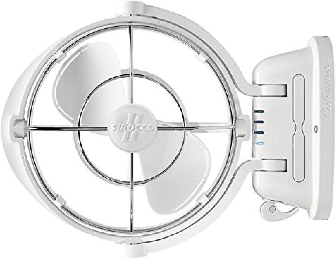 SEEKR Sirocco II, 7010CAWBX, 3 velocidades, flujo de aire de 360 grados, ventilador de cardán de alambre directo, 125/185 CFM, 12/24V, blanco, hoja de 17,8 cm