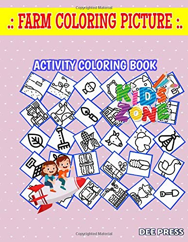 Farm Coloring Picture: 40 Fun Leaf, Farmer, Cow, Snake, Shears, Apple, Snake, Leaf For Men Image Quiz Words Activity and Coloring Book