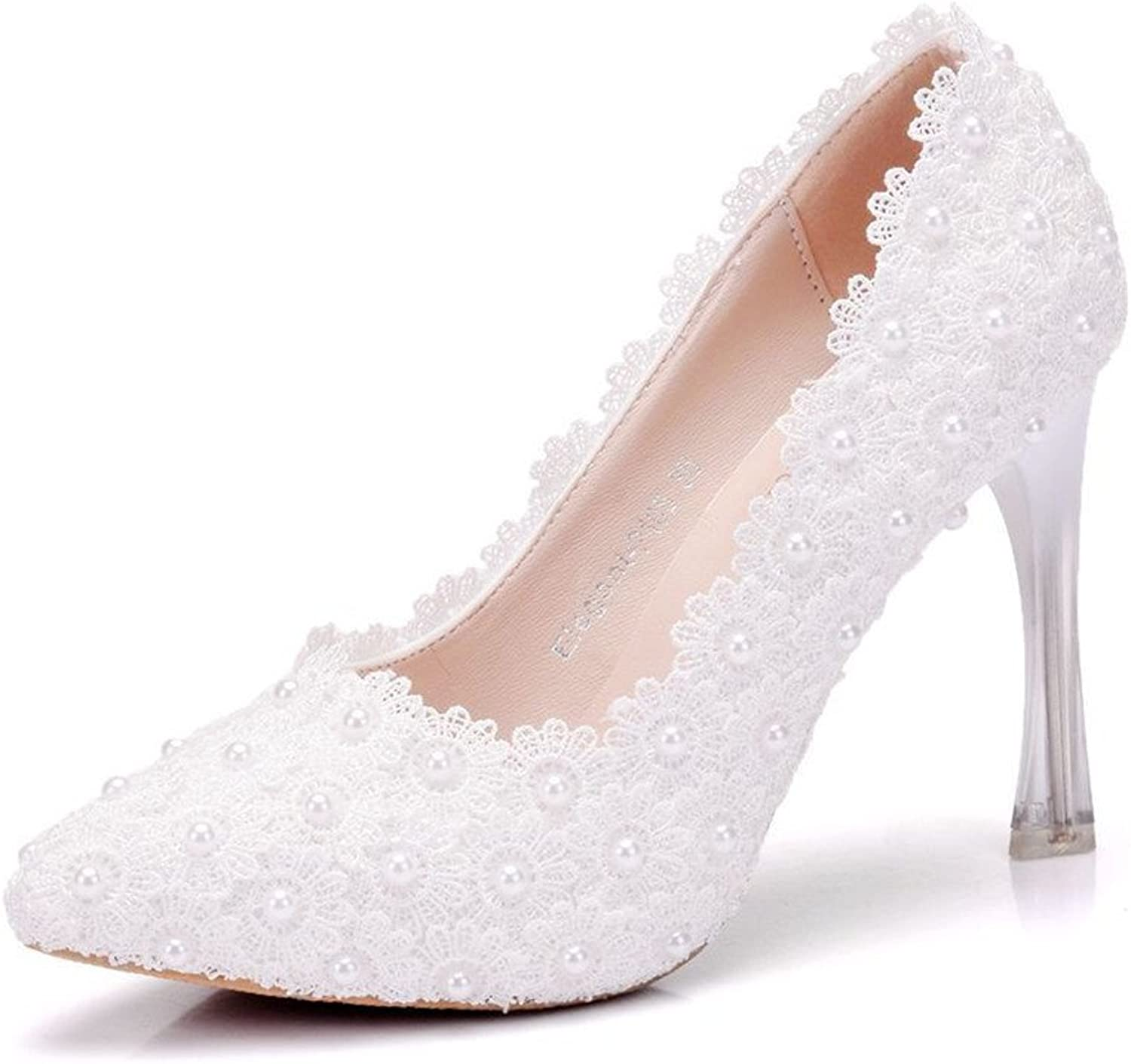 Gusha Pointed Toe Lace Pearl Heels Wedding shoes Fashion Sexy Ball Party Stilettos