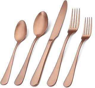 Matte Rose Gold Silverware Set, Satin Finish 20-Piece Stainless Steel Flatware Set with Round Edge,Kitchen Utensil Set Service for 4, Dishwasher Safe
