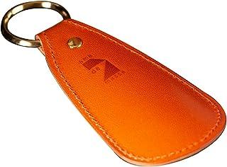 [アム デ マス] 靴べら 栃木レザー 本革 日本製 シューホーン 携帯用 小型 ハンドメイド 金メッキ リング SH-005