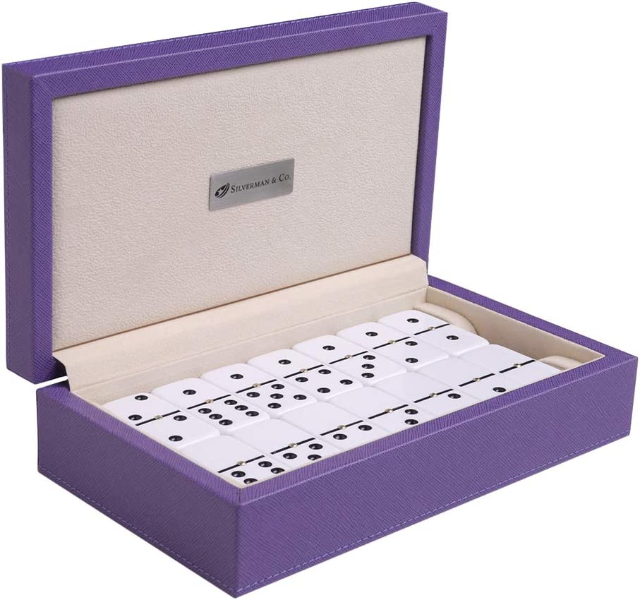 Silverman Co. Double 6 Large White Domino Cheap sale - Set Special price Purple Case
