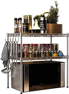 Dxbqm Organisateur de Stockage étagère de Four à Micro-Ondes, Cuisine 3 Niveaux Support de Rangement en métal épice Suppor...