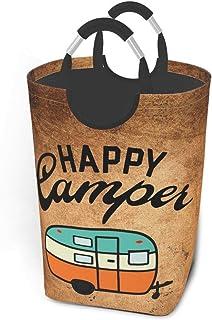 N\A Happy Camper Panier à Linge Sale Sac à vêtements Seau Pliable Poubelle à Laver Jouets Organisateur de Rangement avec p...