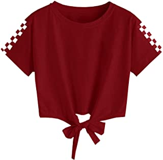 Girls Casual Crew Neck T-Shirts Short Sleeve Solid Color Plaid Hem Tie Strap Tops