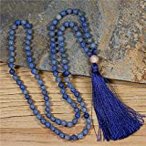 stone natural 108 mala collana boho annodato collana lunga nappa zircon pavy meditation collana gioielli gioielli