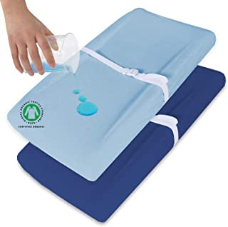 Biloban Changing Pad Cover 2 Pack Diaper, Waterproof Change Pad Cover Set Ultra Soft 100% Organic Cotton for Baby Newborn ...