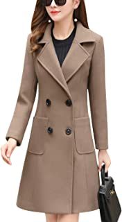 Tanming Women's Notch Lapel Double Breasted Wool Blend Pea Coat Trench Coat