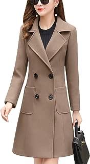 Women's Notch Lapel Double Breasted Wool Blend Pea Coat Trench Coat