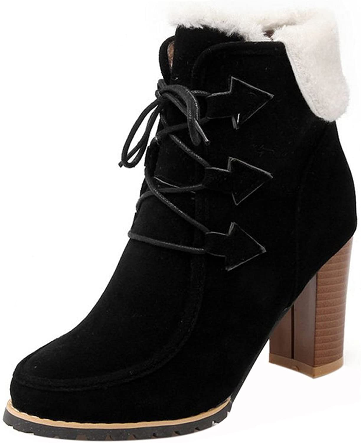 RizaBina Women Warm Block High Heel Ankle Boots with Lace Up