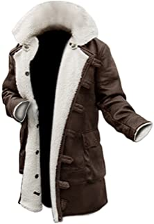 Fashion_First Tom Hardy Bane Cappotto Dark Knight Rises White Faux Fur Shearling in pelle marrone invecchiata