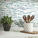 RoomMates RMK11760RL Blue and White Dotted Line Peel and Stick Wallpaper