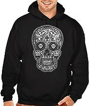 Men's White Sugar Skull Diamond Eyes Black Pullover Hoodie Sweater Black