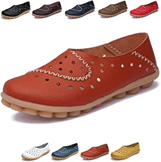 Womens Leather Driving Shoes Slip-Ons Flats Casual Moccasins Soft Nurse Shoes Orange Size: 10