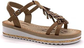 afe013eff104c Angkorly - Chaussure Mode Sandale Vintage/rétro Confortable lanière  Cheville Femme Frange Strass Diamant Boucle