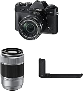 Fujifilm X-T20 Mirrorless Digital Camera w/ XC16-50mm Black Lens + XC50-230mm Silver Lens + Black Hand Grip