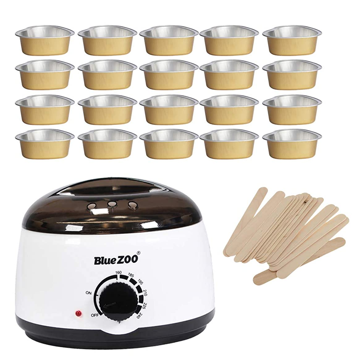 Prettyia 500cc Women Men Hair Removal Depilatory Hot Wax Beans Beads Warmer Heater Machine + 20 Melting Bowls + 50 Disposable Applicator Sticks Kit Set