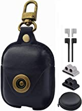 Airpods Leather Protective Case Kit Airpod Case Leather Airpods Case Cover with Loss Prevention Clip for AirPods1 & 2 Case & Wireless Charging Case for AirPods (Black)