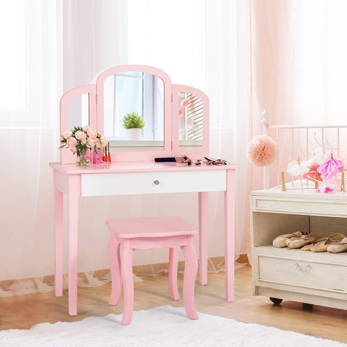 Fireflowery Kids Vanity depot Table and Wooden Ranking TOP13 Princess Set Chair Mak
