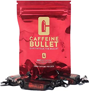 Caffeine Bullet 16 Mint Chews – Exceeds Energy Chews, Caffeine Pills and Gum. 100mg caffeine boost to go marathon running, cycling and the gym. A pre workout sports nutrition shot for endurance sports