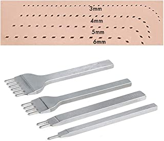 Silver Flameer 18 Options Leather Craft Tools Diamond Hole Punch Stitching 2//4//6 Prong 3//4//5//6mm Spacing Hole 3mm 6 Prong