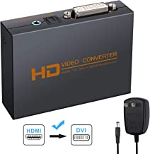 eSynic 1080p HDMI to DVI Converter HDMI to DVI + Optical Toslink SPDIF + 3.5mm Stereo Audio Metal Housing HDMI Audio Extractor with Power Adapter Support DTS AC3 LPCM/PCM ETC 2.0ch/5.1ch