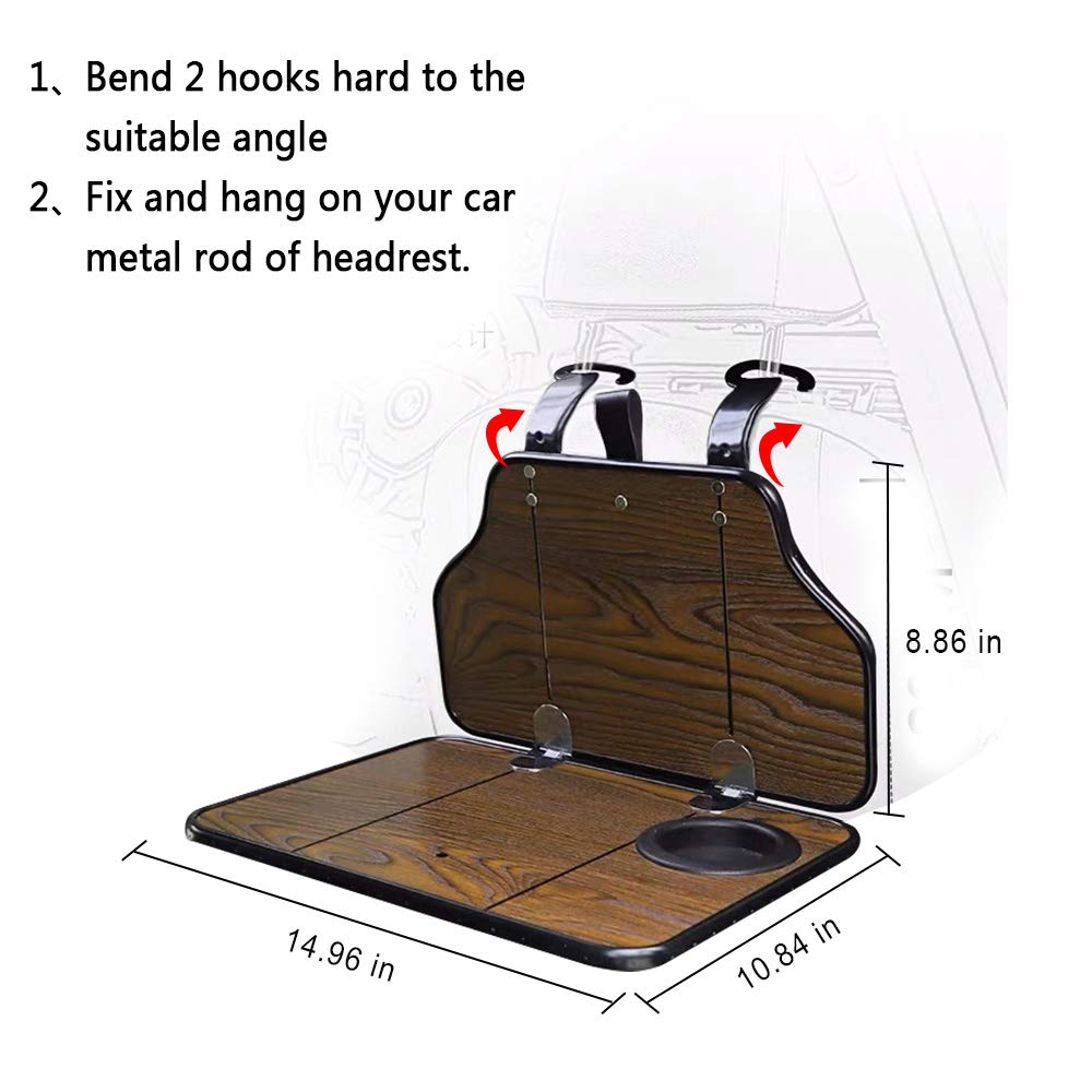 FMS Multi-Functional Car Back Seat Folding Table Wooden Portable Foldable Vehicle Seat Back Table Tray, Laptop Notebook Deck, Food Desk and Cup Holder