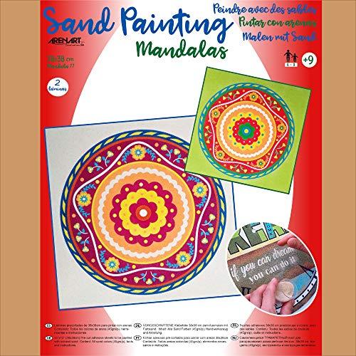 Arenart - Set Pintar con Arenas de Colores - Mandala 11 38x38 cm (2 láminas) Una Terapia para relajarte y Disfrutar de tu Momento.