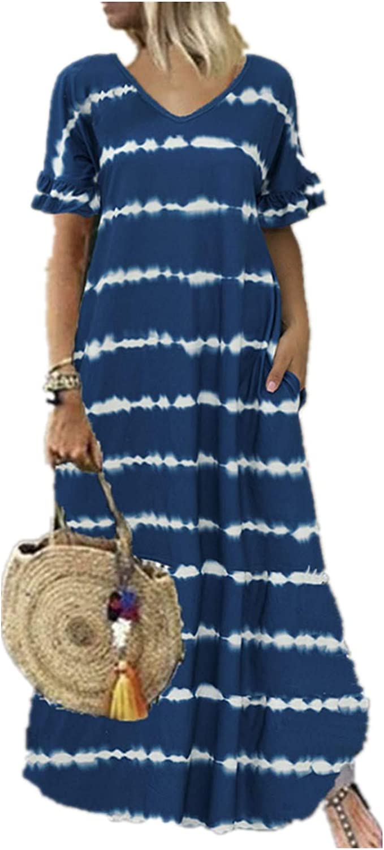 Hemlock Women Stripe Print Long Dress Short Sleeve V Neck Dresses Pockets Maxi Dress Summer Loose Causal Dresses