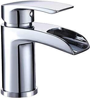 Hapilife Basin Taps Waterfall Mixers Bathroom Sink Mixer Tap Semi-open with UK Hoses Chrome Brass